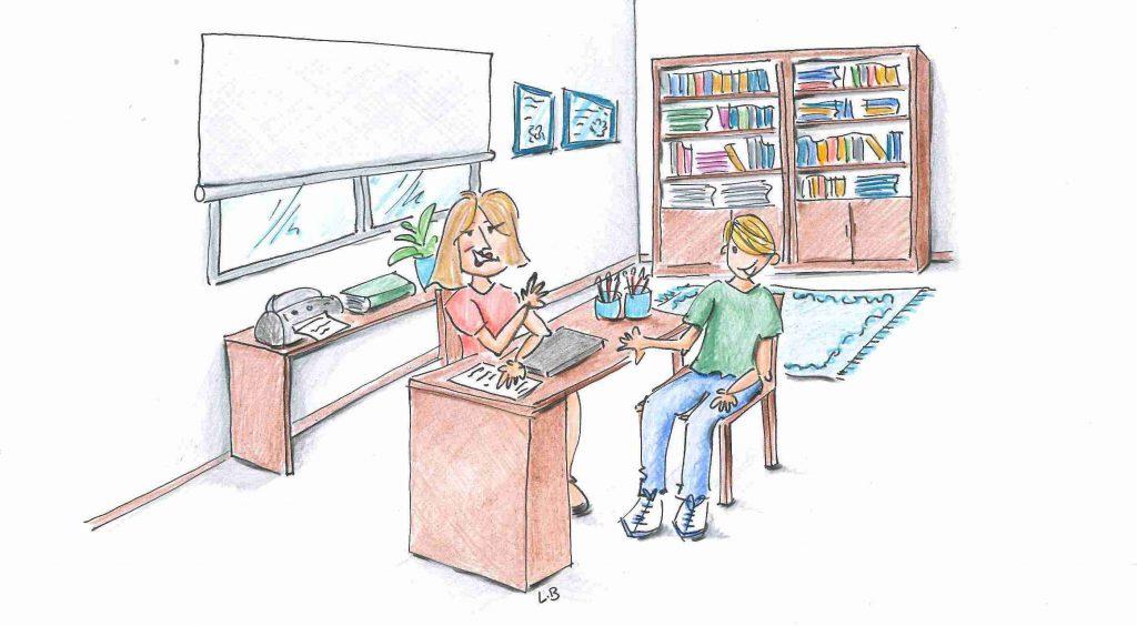 Psicología infantil y juvenil, ilustración que muestra una escena entre un adolescente y un psicólogo